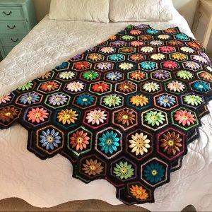 Vintage Handmade Crochet Floral Boho Throw Blanket